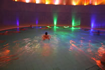 Inside the liquid sound temple at Toskana Therme.